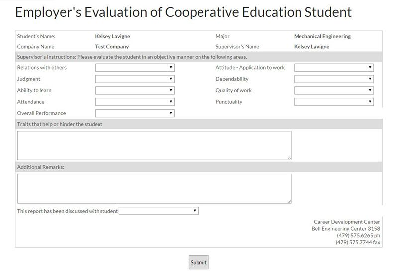 Employer Evaluation Form Image