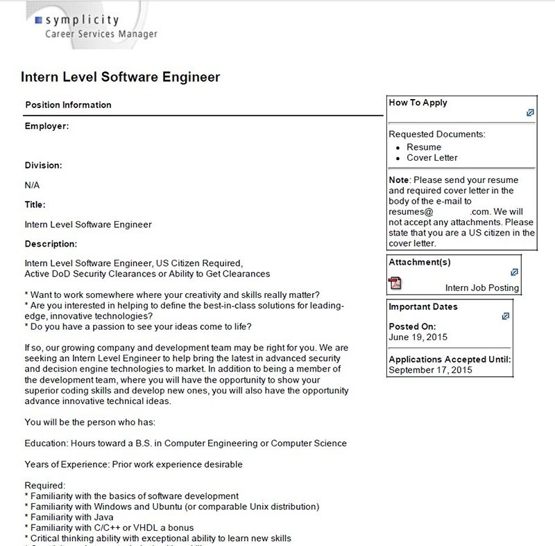 CoOp And Internship Description Examples  College Of Engineering