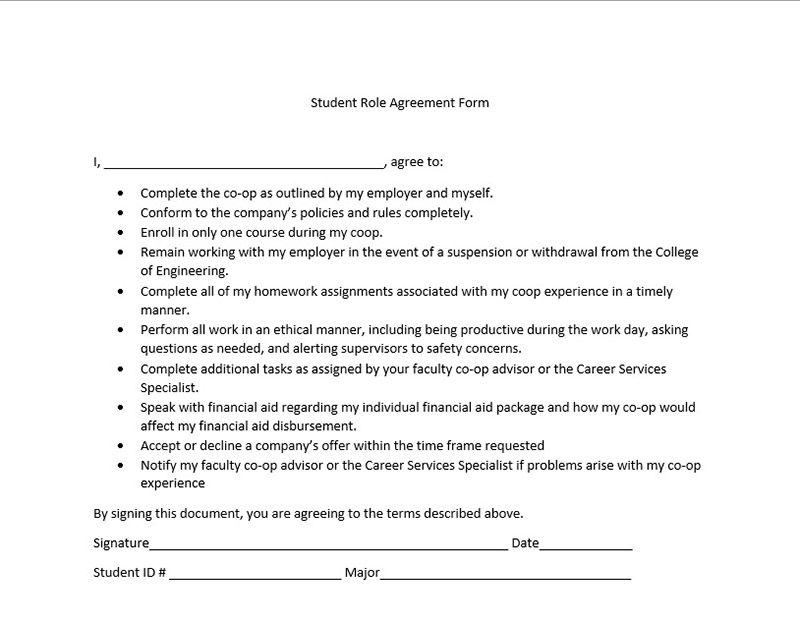 Student Role Agreement Form